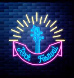 Vintage rock festival emblem glowing neon sign vector