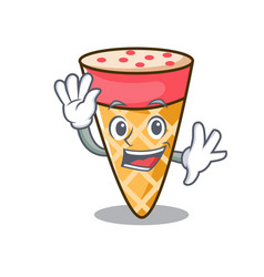 Waving ice cream tone character cartoon vector
