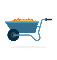 Wheelbarrow for transportation flat isolated vector