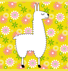 White llama on yellow floral pattern vector