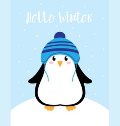 winter card with cute penguin vector image