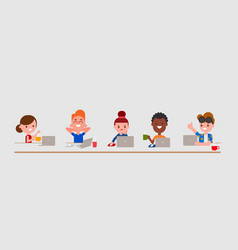 Young adult characters using laptop computer vector