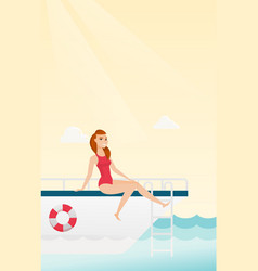 Young caucasian woman tanning on yacht vector
