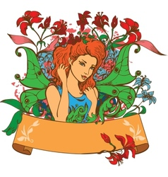Beautiful Fairy among flowers vector image vector image