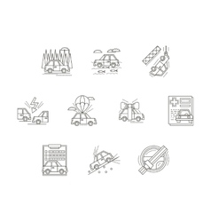 Car insurance line icons set vector