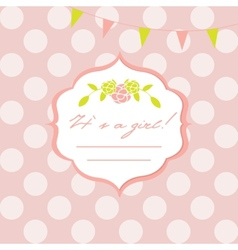 Baby girl shower card with seamless polka dots vector image vector image