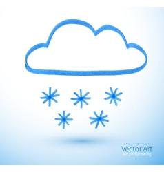 Felt pen drawing of snowy cloud vector