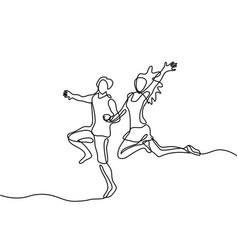 happy running couple vector image