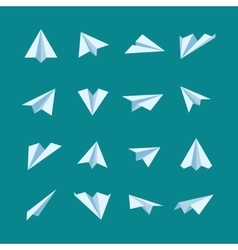 Paper planes flat icons set vector image vector image