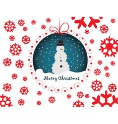 Snowmen merry christmas card vector image