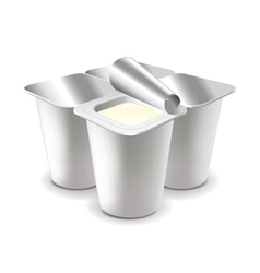 Four yogurt cups isolated on white vector image