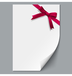 Sheet paper and red ribbon with gift bow vector image vector image
