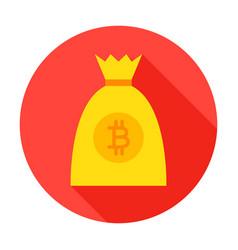 bitcoin money bag circle icon vector image