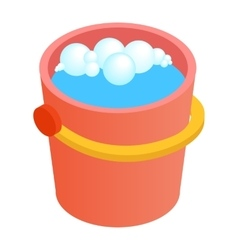 Bucket with water for cleaning isometric 3d icon vector image vector image