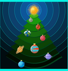 christmas tree with solar system planets as vector image vector image