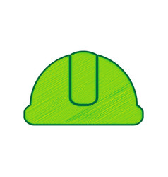 hardhat sign lemon scribble icon on white vector image