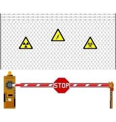 mesh fence and barrier gate vector image vector image