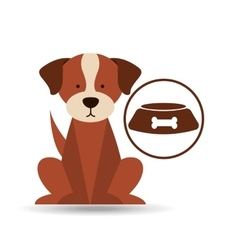 veterinary dog care bowl of dog food icon vector image