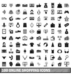 100 online shopping icons set simple style vector