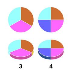 2d 3 d fraction pie fractions vector