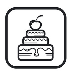 a cake with cherries and cream line icon black vector image
