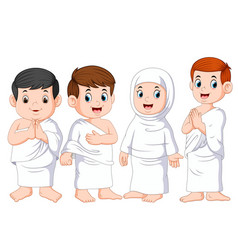 a people are using white cloth for umrah vector image