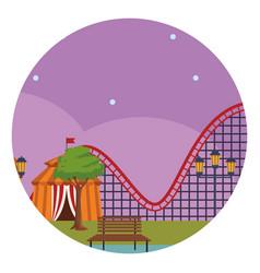 amusement park at night vector image