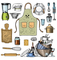 Apron or pinaphora and hood rolling pin and vector