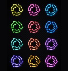arrow circle icon set 3d color neon signs on dark vector image