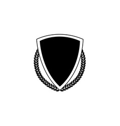 Badge and icon black royal shield with laurel vector