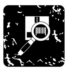 Barcode scanner icon grunge style vector