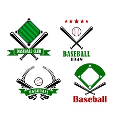 Baseball sporting emblems or badges vector image