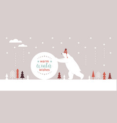 big polar bear in knitted red hat rolls a big snow vector image