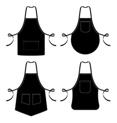 Black and white kitchen chef aprons isolated vector