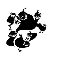 black cartoon shapes on halloween theme vector image