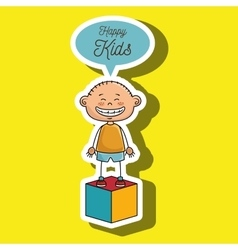 boy kids happy cube icon vector image