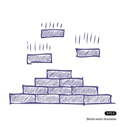 Brick pyramid vector