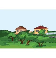 Cartoon village houses with green trees vector image