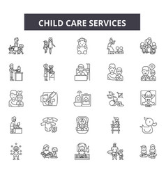 Child care service line icons signs set vector