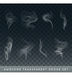 Collection or Set of Realistic Cigarette Smoke or vector image