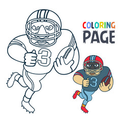 coloring page with rugby football player cartoon vector image