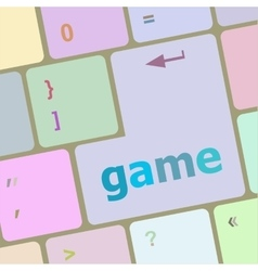 Computer keyboard with game key - technology vector image
