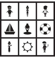 Concept flat icons in black and white marine vector
