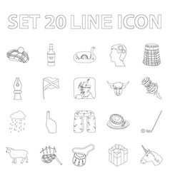 Country scotland outline icons in set collection vector