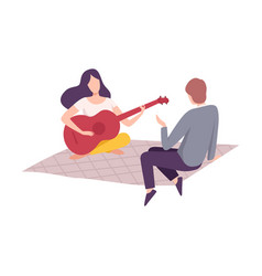 couple having picnic in park man and woman vector image