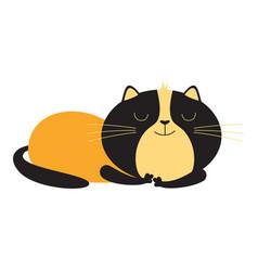 Cute card with sleeping cat vector