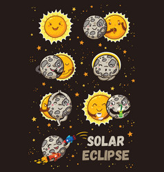 Cute moon practice of yoga solar eclipse in vector