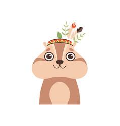 Cute woodchuck animal wearing headdress with vector