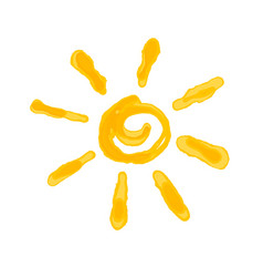 Drawn the sun imitation of watercolor isolated vector