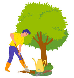 farming personage character growing trees vector image